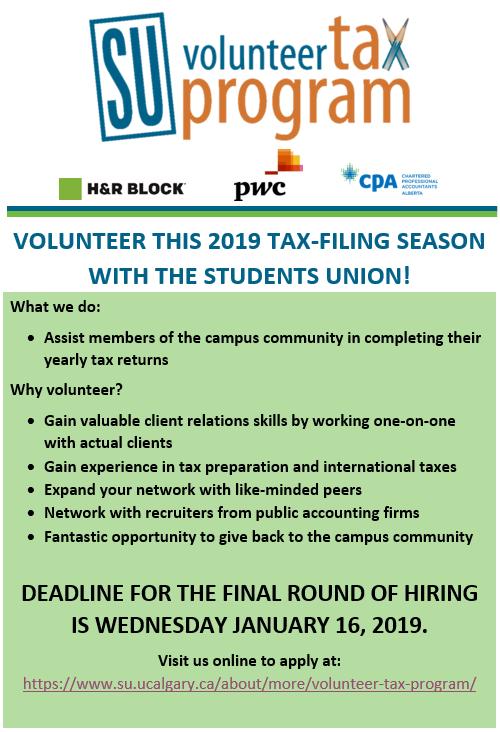 SU Volunteer Tax Program Application Deadline - ASA
